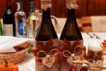 Оформление свадебного шампанского в стиле рустик