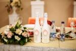 Свадебное шампанское в персиковом цвете